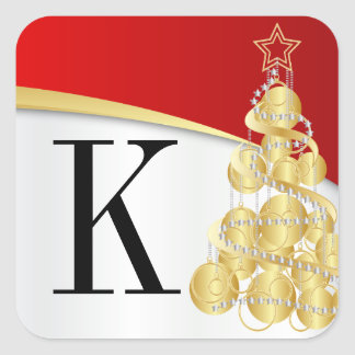 Monogramm-goldene rote frohe Weihnachten Quadratischer Aufkleber
