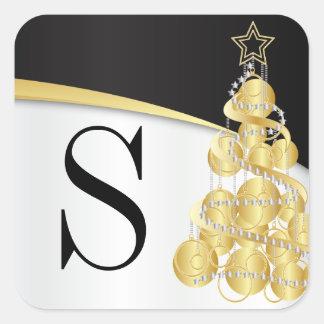 Monogramm-goldene schwarze frohe Weihnachten Quadratischer Aufkleber