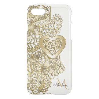 Monogramm-Goldspitze und keltisches Herz iPhone 7 Hülle