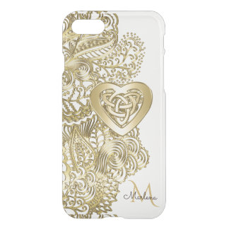 Monogramm-Goldspitze und keltisches Herz iPhone 8/7 Hülle