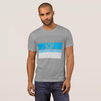 Monogramm grau und cyan-blau T-Shirt