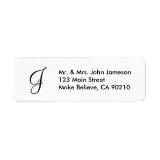 Monogramm-Herr-u. Frau-Envelope Adressen-Etikett Kleiner Adressaufkleber