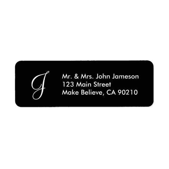Monogramm-Herr u. Frau - schwarze Adressen-Etikett
