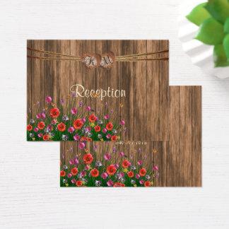 Monogramm-Herz mit Wildblumen - Empfang Visitenkarte