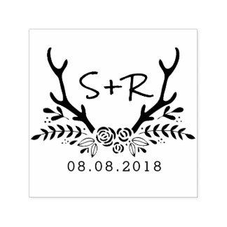 Monogramm-Hochzeits-Briefmarke, Save the Date Permastempel