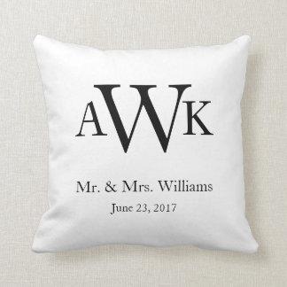 Monogramm-Hochzeits-Datum Pillow2 Kissen