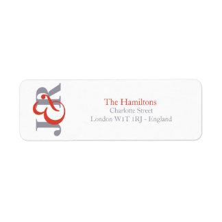 Monogramm-Hochzeits-Rücksendeadresse der Fiesta-  Rückversand-Adressaufkleber