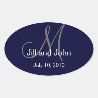 Monogramm-Hochzeits-Wein-Aufkleber-Marine Ovaler Aufkleber