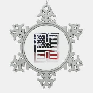 Monogramm-Initiale des Buchstabe-H patriotische Schneeflocken Zinn-Ornament