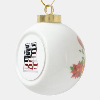 Monogramm-Initiale des Buchstabe-M patriotische Keramik Kugel-Ornament