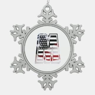Monogramm-Initiale des Buchstabe-M patriotische Schneeflocken Zinn-Ornament