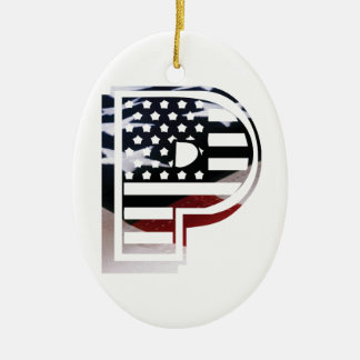 Monogramm-Initiale des Buchstabe-P patriotische Keramik Ornament