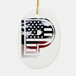 Monogramm-Initiale des Buchstabe-P patriotische Ovales Keramik Ornament