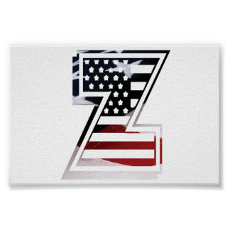 Monogramm-Initiale des Buchstabe-Z patriotische Poster