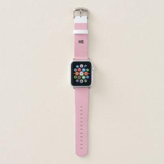 Monogramm-Initialen | Apple passen rosa ledernes Apple Watch Armband