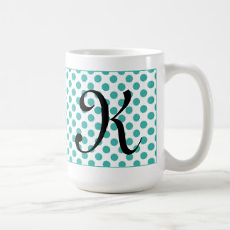 Monogramm-Initialen-Aqua-Polka-Punkt-Tasse Tasse