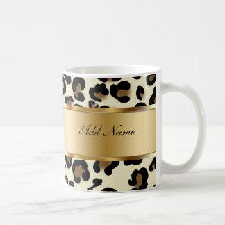 Monogramm-Kaffee-Tassen-Leopard Tasse