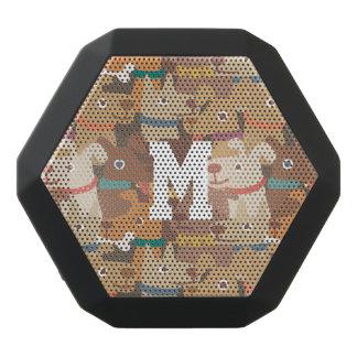 Monogramm. Kawaii niedliche kleine Welpen-Hunde Schwarze Bluetooth Lautsprecher