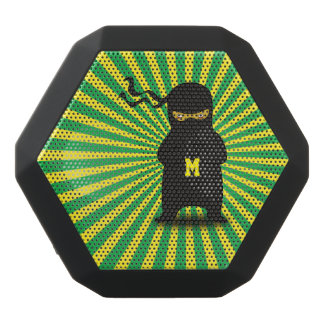 Monogramm. Kawaii niedliches Ninja für NerdGeek. Schwarze Bluetooth Lautsprecher
