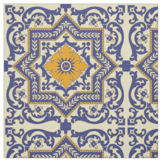 Monogramm-Keramik Azulejo Art-blaues orange Gewebe Stoff