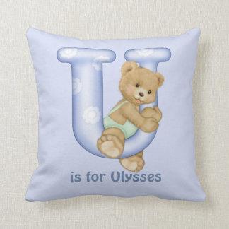 Monogramm-Kissen des Teddybär-Buchstabe-U Kissen