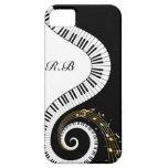 Monogramm-Klavier-Schlüssel und musikalische Anmer iPhone 5 Etui