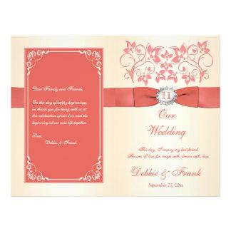 Monogramm-Koralle, Champagne-Hochzeits-Programm Flyer