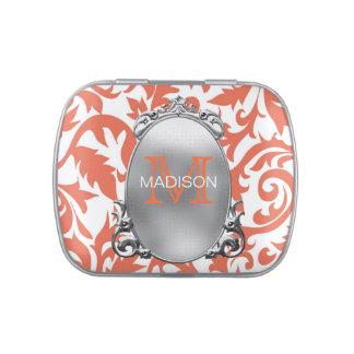 Monogramm-korallenrote Hochzeit Süßigkeitenbox