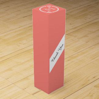 Monogramm-korallenrote rosa zuerstobere Grenze Weinbox