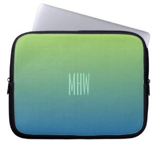 Monogramm-Laptophülse der Limonen blauen Steigung Laptop Computer Schutzhülle