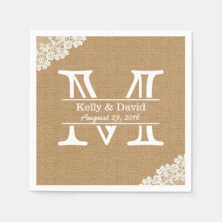 Monogramm-Leinwand u. Spitze-rustikale Hochzeit Papierservietten