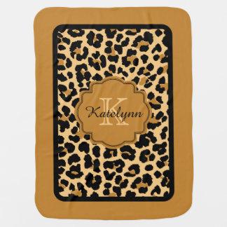 Monogramm-Leopard-Druck-kundenspezifische Baby-Decke