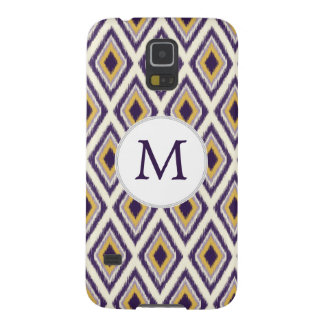 Monogramm lila gelbes Ikat Muster Galaxy S5 Cover