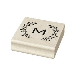 Monogramm-Lorbeer Gummistempel