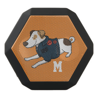 Monogramm. Lustiger niedlicher kleiner Welpen-Hund Schwarze Bluetooth Lautsprecher