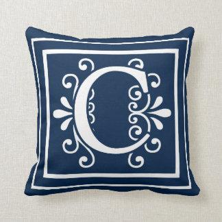 Monogramm-Marine-Blau-Weiß des Buchstabe-C Kissen