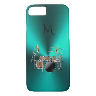 Monogramm-metallischer aquamariner Trommel-Musik iPhone 8/7 Hülle