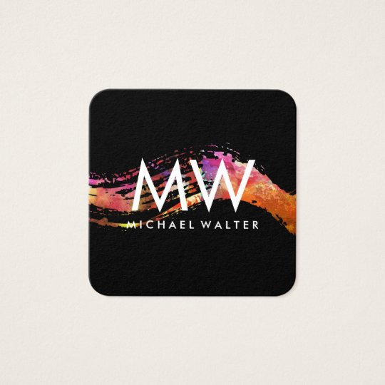 Monogramm mit dem modernen Aquarell gebürstet Quadratische Visitenkarte