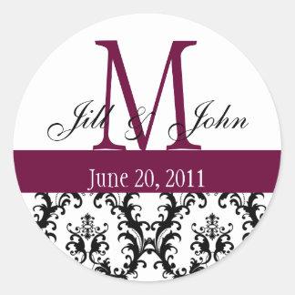 Monogramm nennt Datums-Damast-Hochzeits-Wein-Weiß Runder Aufkleber