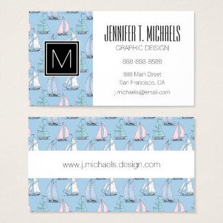 Monogramm-niedliches Segelboot-Muster 1 Visitenkarte