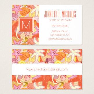 Monogramm-Pastellseegeschöpfe Visitenkarte