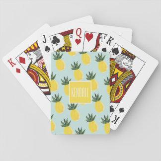 Monogramm-personalisierte Ananas-Spielkarten Spielkarten