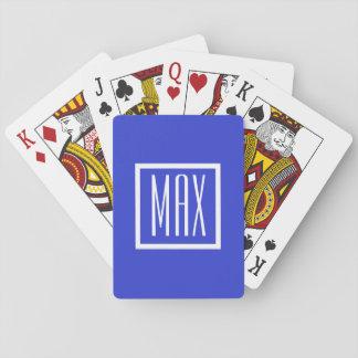 Monogramm-personalisierter blauer spielkarten