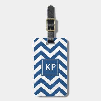 Monogramm-personalisierter blauer Zickzack Kofferanhänger
