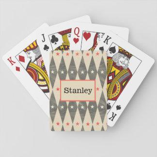 Monogramm-personalisierter roter schwarzer spielkarten