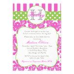 Monogramm-Pink-Grün-Babyparty-Einladung