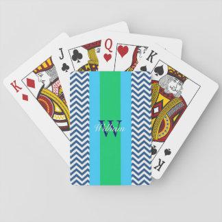Monogramm-Preppy blaue Zickzack Spielkarten