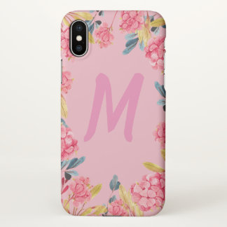 Monogramm-rosa Girly Feld iphone Mit Blumenfall iPhone X Hülle