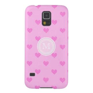 Monogramm-rosa Herzen Galaxy S5 Hülle