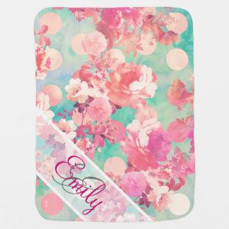 Monogramm-rosa Retro Blumenmuster-aquamarine Babydecke